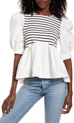 ENGLISH FACTORY Stripe Peplum Top