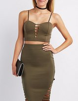 Charlotte Russe Caged Bustier Crop Top