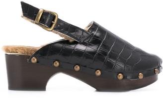 Avec Modération Chunky Heel Clog Mules