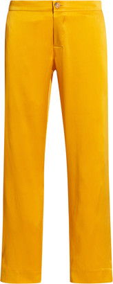 ASCENO The Antibes Silk Satin Cropped Straight-Leg Trousers