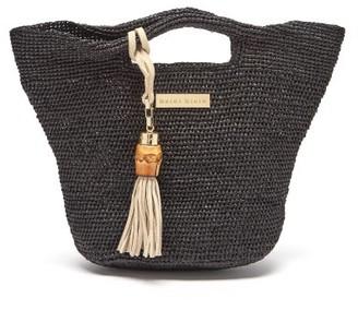 Heidi Klein Grace Bay Super Mini Raffia Bucket Bag - Black