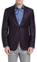 Canali Houndstooth Two-Button Sport Coat, Burgundy/Navy