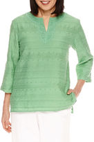 Alfred Dunner Bahama Bays 3/4 Sleeve Lace Yoke Tunic Top