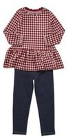 F&F Checked Peplum Tunic and Jeggings Set, Girl's