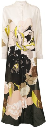 Adam Lippes Floral-Print Maxi Shirt Dress