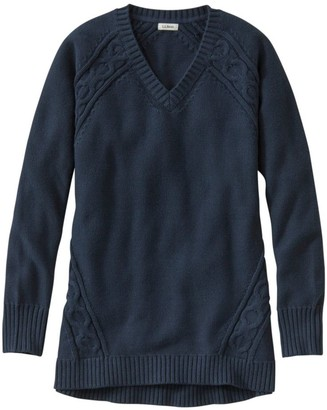 L.L. Bean Women's Double LA Mixed-Cable Sweater,V-Neck Tunic