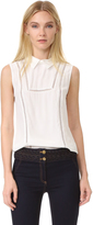Veronica Beard Aster Collar Bib Sleeveless Blouse