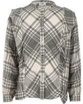River Island Girls grey check frill shirt