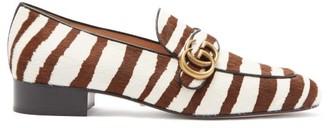 Gucci Marmont Gg Zebra-stripe Calf-hair Loafers - Brown White