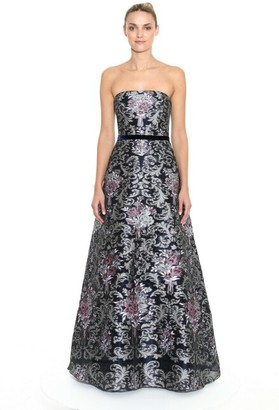 Marchesa Notte Strapless Jeweled Damask Fils Coupe Evening Gown
