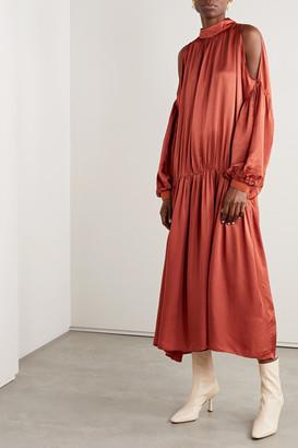 Mother of Pearl Net Sustain Eleanor Oversized Cold-shoulder Satin-jacquard Dress - Orange