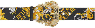 Versace Jeans Couture Black Saffiano Baroque Belt