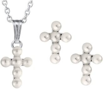 Mignonette Cultured Pearl Cross Pendant Necklace & Earrings Set