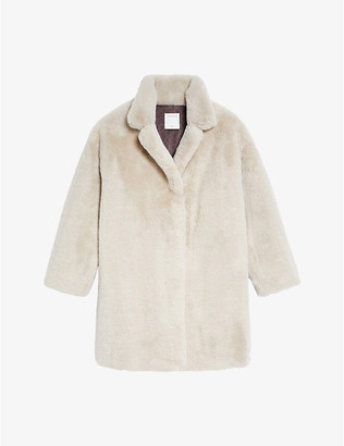 Sandro Fanye faux-fur single-breasted coat