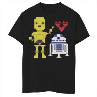 Star Wars Boys 8-20 C-3PO R2-D2 Droid Love Valentine's Tee