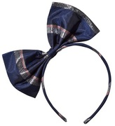 No Added Sugar Navy and Silver Stripe Large Bow Headband