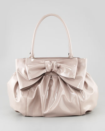 Valentino Double-Handle Lacca Bow Bag, Beige
