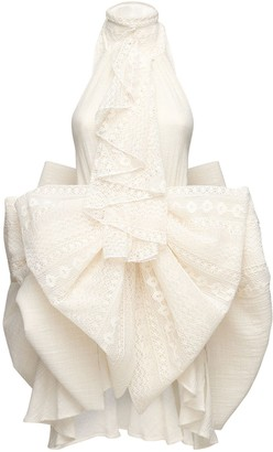 Redemption Draped Cotton Lace & Gazar Mini Dress