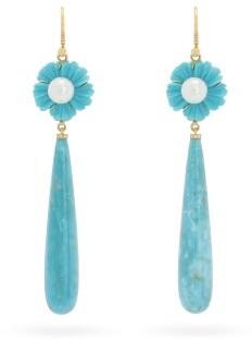 Irene Neuwirth Diamond, Turquoise & 18kt Gold Drop Earrings - Womens - Yellow Gold