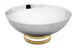 "Classic Touch 6"" Stainless Steel Bowl with Gold-Tone Loop Base"