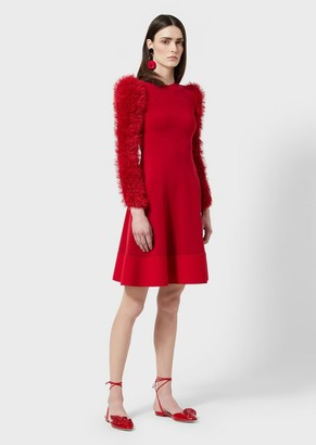 Giorgio Armani Jersey Dress With Loop-Stitch Knit Sleeves
