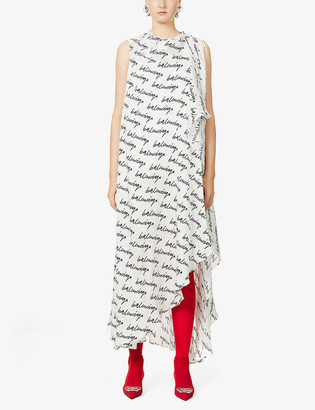 Balenciaga Logo-print silk midi dress