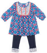 Little Lass 2-pc. Long Sleeve Knit Tassel top Lace cuff Legging Pant Set Baby Girls