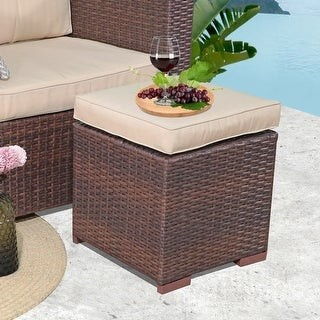 Overstock Outdoor Cushioned Wicker Ottomans