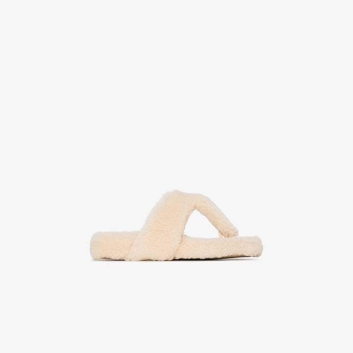 Aquazzura White shearling sandals