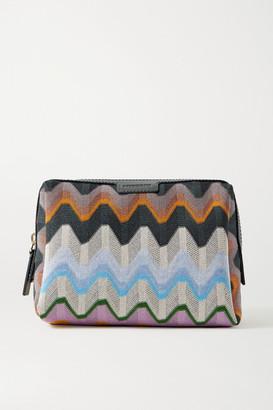 Missoni Leather-trimmed Crochet-knit Cosmetics Case - Multi