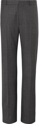 Balenciaga Wide-Leg Striped Virgin Wool Trousers - Men - Gray