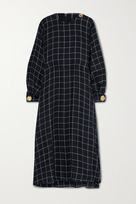 Mother of Pearl Net Sustain Seren Embellished Checked Twill Midi Dress - Black