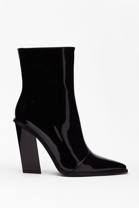 Nasty Gal Womens Patent Pointed Ankle Boots - Black - 3