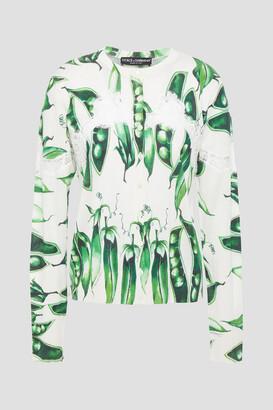 Dolce & Gabbana Lace-trimmed Printed Cashmere-blend Cardigan