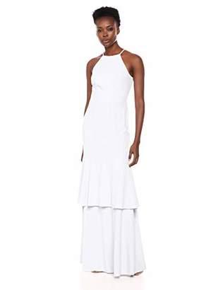 Halston Women's Sleeveless High-Neck Mesh Back Tiered Gown