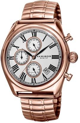 Akribos XXIV Men's Quartz Multifunction Dual-time Stainless Steel Expanding Rose-Tone Bracelet Watch - Gold