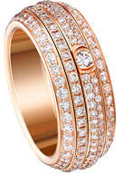 Piaget Possession Turning Pavé Diamond Band Ring in 18K Red Gold, Size 6