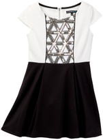 My Michelle mymichelle Sequin Detail Cap Sleeve Dress (Big Girls)