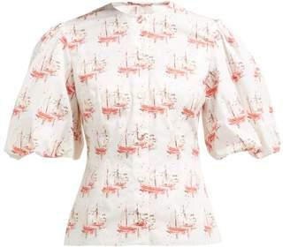 Emilia Wickstead Selena Sailboat Print Cotton Blouse - Womens - Pink Print