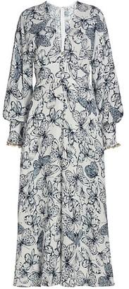 Lela Rose Butterfly-Print Georgette Midi Dress