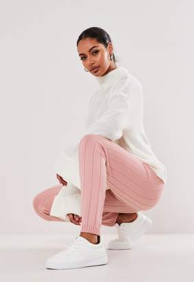 Missguided Tall Pink Rib Knitted Leggings