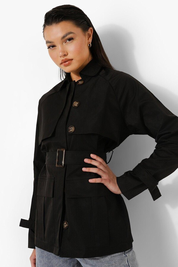 Thumbnail for your product : boohoo Belted Utility Short Trench Coat