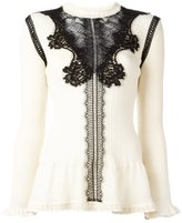 Alberta Ferretti lace inset knitted top
