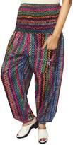 Maple Clothing Rayon Womens Smocked Waist Hippie Harem Pants (Multicolour)