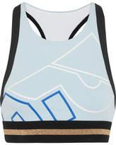 P.E Nation The Volley Printed Stretch-jersey Sports Bra - Sky blue