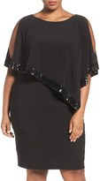 Adrianna Papell Plus Size Women's Cold Shoulder Capelet Dress