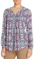 Foxcroft Medallion Print Pintuck High Low Blouse