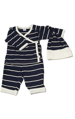 Baby Grey By Everly Grey Stripe Wrap Top, Pants & Knotted Hat Set