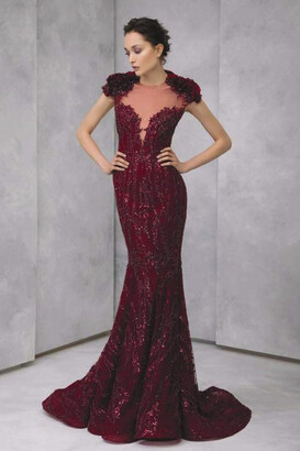 Tony Ward Mermaid-Cut Embroidered Tulle Gown