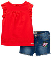Hudson Ruffle Top & Denim Short 2-Piece Set (Toddler Girls)